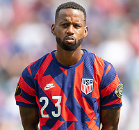 KANSAS CITY, KS - JULY 18: Kellyn Acosta #23 of the United States during a game between Canada and USMNT at Children's Mercy Park on July 18, 2021 in Kansas City, Kansas.