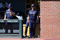 CHAPEL HILL, NC - MARCH 08: Head coach Link Jarrett #5 of the University of Notre Dame watches from the dugout during a game between Notre Dame and North Carolina at Boshamer Stadium on March 08, 2020 in Chapel Hill, North Carolina.