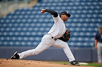 Staten Island Yankees starting pitcher Harold Cortijo (66) delivers a pitch during a game against the Lowell Spinners on August 22, 2018 at Richmond County Bank Ballpark in Staten Island, New York.  Staten Island defeated Lowell 10-4.  (Mike Janes/Four Seam Images)