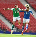 22.05.2021 Scottish Cup Final, St Johnstone v Hibs: Christian Doidge battles with Jamie McCart