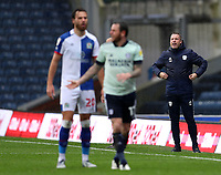 3rd October 2020; Ewood Park, Blackburn, Lancashire, England; English Football League Championship Football, Blackburn Rovers versus Cardiff City; Cardiff City manager Neil Harris shouts instructions from the touchline