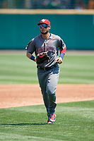 Lehigh Valley IronPigs right fielder Danny Ortiz (6) jogs back to the dugout during a game against the Rochester Red Wings on July 1, 2018 at Frontier Field in Rochester, New York.  Rochester defeated Lehigh Valley 7-6.  (Mike Janes/Four Seam Images)
