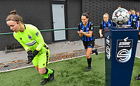goalkeeper Elke Geeraert (25 Brugge) , Saar Verdonck (6 Brugge) and Elle Decorte (7 Brugge) pictured entering the pitch during a female soccer game between Club Brugge Dames YLA and RSC Anderlecht Ladies on the fifth matchday of the 2020 - 2021 season of Belgian Scooore Womens Super League , sunday 18 October 2020  in Brugge , Belgium . PHOTO SPORTPIX.BE | SPP | DAVID CATRY