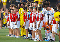 24 JULY 2010:  Crew and Dynamo Players with kids before MLS soccer game between Houston Dynamo vs Columbus Crew at Crew Stadium in Columbus, Ohio on July 3, 2010.
