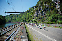 The OmegaPharma-Quickstep train is off the tracks<br /> <br /> 2014 Belgium Tour<br /> stage 4: Lacs de l'Eau d'Heure - Lacs de l'Eau d'Heure (178km)