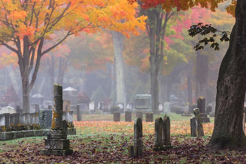 Autumn cemetery, Saco, Maine, USA.