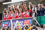 Japan players celebrate with the trophy after winning the on Qualifier Final during the Cathay Pacific / HSBC Hong Kong Sevens at the Hong Kong Stadium on 30 March 2014 in Hong Kong, China. Photo by Xaume Olleros / Power Sport Images