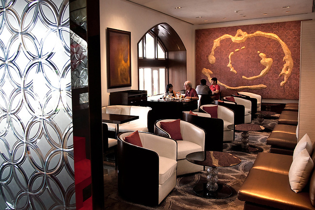 MUMBAI, INDIA - SEPTEMBER 27, 2010: The renovated Harbour Bar at the Taj Mahal Palace and Tower Hotel in Mumbai. The hotel has re-opened after the terror attacks of 2008 destroyed much of the heritage wing. The wing has been renovated and the hotel is once again the shining jewel of Mumbai. pic Graham Crouch