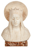 BNPS.co.uk (01202 558833)<br /> Pic: SheldonCarpenter/Witherell'sInc/BNPS<br /> <br /> Pictured: Al and Mae Capone's marble Madonna bust.<br /> <br /> An incredible treasure trove of Al Capone heirlooms have sold at auction for a whopping £2.3m. ($3.1m)<br /> <br /> The star lot was the notorious American gangster's favourite gun - a 1911 Colt semi-automatic pistol, which was expected to fetch £110,000 but sold for an incredible £764,000. ($1.04m)<br /> <br /> The remarkable collection, sold by his granddaughters, included personalised jewellery, photographs and furniture and a letter written to his only child Sonny from Alcatraz Prison, which showed a tender side to the ruthless crime boss.