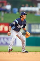 Corpus Christi Hooks shortstop Chan Moon (3) during a game against the Arkansas Travelers on May 29, 2015 at Dickey-Stephens Park in Little Rock, Arkansas.  Corpus Christi defeated Arkansas 4-0 in a rain shortened game.  (Mike Janes/Four Seam Images)