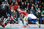 Mannheim, Germany, January 24: During the 1. Bundesliga Herren Hallensaison 2014/15 quarter-final hockey match between Mannheimer HC (white) and Club an der Alster (red) on January 24, 2015 at Irma-Roechling-Halle in Mannheim, Germany. Final score 2-3 (1-2). (Photo by Dirk Markgraf / www.265-images.com) *** Local caption *** Christian Reimann #20 of Club an der Alster