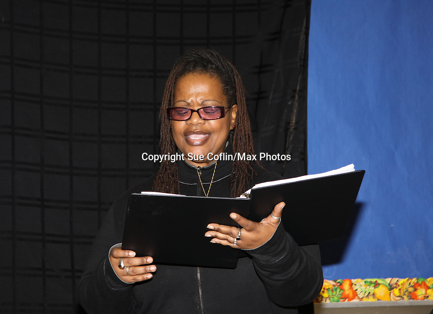"""KimDeon is an actress in the play - Evern Gillard-Randolph, playwright and founder of Grandparents Around the World, presents her new play """"To Do List"""" in a first play reading on December 7, 2013 at the Salvation Army Harlem Corps, New York, New York.  (Photo by Sue Coflin/Max Photos)"""