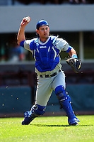 Durham Bulls catcher Luke Maile (26) during a game versus the Pawtucket Red Sox at McCoy Stadium in Pawtucket, Rhode Island on May 3, 2015.  (Ken Babbitt/Four Seam Images)