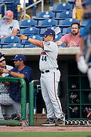 Fort Myers Miracle  during a game against the Clearwater Threshers on May 31, 2018 at Spectrum Field in Clearwater, Florida.  Clearwater defeated Fort Myers 5-1.  (Mike Janes/Four Seam Images)