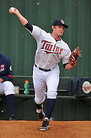 Elizabethton Twins starting pitcher Kohl Stewart #45 warms up in the bullpen before a game against the Greeneville Astros at Joe O'Brien Field on August 20, 2013 in Elizabethton, Tennessee. The Twins won the game 10-8. (Tony Farlow/Four Seam Images)