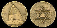 BNPS.co.uk (01202 558833)<br /> Pic: DixNoonanWebb/BNPS<br /> <br /> Pictured: Israeli commemorative coins.<br /> <br /> The bravery medals awarded to disgraced media tycoon Robert Maxwell for his wartime heroics have today sold for £7,500.<br /> <br /> Decades before the fraudster stole millions of pounds from the pension fund of Mirror Group Newspapers and then drowned in mysterious circumstances, Maxwell was a decorated war hero with a tragic past.<br /> <br /> Maxwell took part in the Normandy invasion and fought across Europe towards Germany. In April 1945 he was awarded the Military Cross for storming a German machine-gun post that had been pinning down British soldiers on the Holland/German border.<br /> <br /> His medals went under the hammer with London auctioneers Dix Noonan Webb.