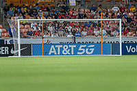 HOUSTON, TX - JUNE 13: AT&T signage during a game between Jamaica and USWNT at BBVA Stadium on June 13, 2021 in Houston, Texas.