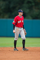 Utah Jones (7) of Watauga High School in Boone, North Carolina playing for the Boston Red Sox scout team at the South Atlantic Border Battle at Doak Field on November 1, 2014.  (Brian Westerholt/Four Seam Images)