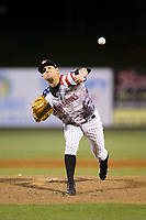 Kannapolis Intimidators relief pitcher Kyle Kubat (1) delivers a pitch to the plate against the Lakewood BlueClaws at Kannapolis Intimidators Stadium on April 7, 2017 in Kannapolis, North Carolina.  The BlueClaws defeated the Intimidators 6-4.  (Brian Westerholt/Four Seam Images)
