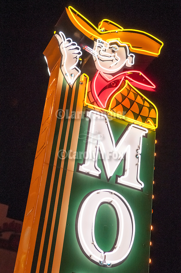 Motel cowboy, Neon from the Neon Museum near Fremont Street at night, Las Vegas