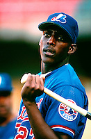 Vladimir Guerrero of the Montreal Expos during a game at Dodger Stadium in Los Angeles, California during the 1997 season.(Larry Goren/Four Seam Images)