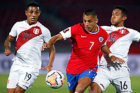 13th November 2020; National Stadium of Santiago, Santiago, Chile; World Cup 2020 Football qualification, Chile versus Peru;  Alexis Sanchez of Chile is challenged by Yoshimar Yotun and Cristofer Gonzales of Peru