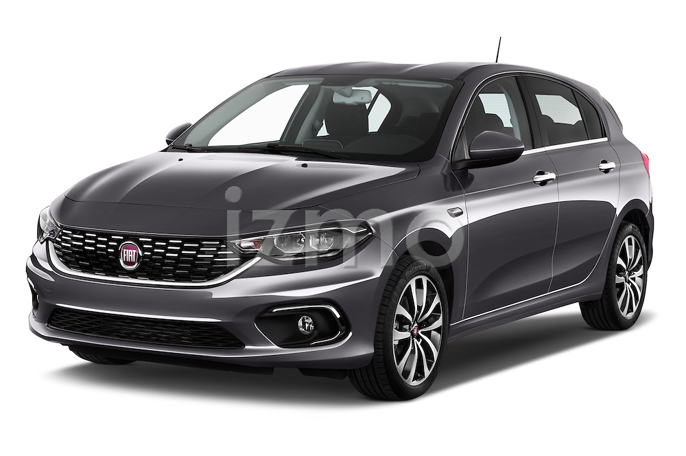 2016 Fiat Tipo Lounge 5 Door Hatchback Angular Front stock photos of front three quarter view