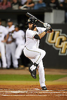 UCF Knights third baseman Kam Gellinger (3) at bat during a game against the Siena Saints on February 17, 2017 at UCF Baseball Complex in Orlando, Florida.  UCF defeated Siena 17-6.  (Mike Janes/Four Seam Images)