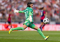 EAST HARTFORD, CT - JULY 5: Itzel Gonzalez #12 of Mexico kicks the ball during a game between Mexico and USWNT at Rentschler Field on July 5, 2021 in East Hartford, Connecticut.