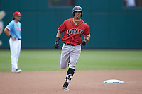 Jose Osuna (13) of the Indianapolis Indians rounds the bases after hitting a home run against the Columbus Clippers at Huntington Park on June 17, 2018 in Columbus, Ohio. The Indians defeated the Clippers 6-3.  (Brian Westerholt/Four Seam Images)