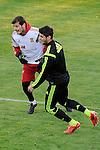 Spanish National Team's  training at Ciudad del Futbol stadium in Las Rozas, Madrid, Spain. In the pic: Iker Casillas and Morata. March 25, 2015. (ALTERPHOTOS/Luis Fernandez)