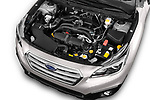 Car stock 2017 Subaru Outback Premium 5 Door Wagon engine high angle detail view