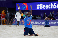 28th August 2021; Luzhniki Stadium, Moscow, Russia: FIFA World Cup Beach Football tournament; Semi final match Japan versus Senegal: Ozu Moreira from Japan, celebrates the victory after the match between Japan and Senegal