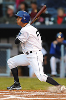 Asheville Tourists Rafael Ortega #5 swings at a pitch during a game against  the Lexington Legends at McCormick Field in Asheville,  North Carolina;  April 15, 2011.  Asheville defeated Lexington 2-1.  Photo By Tony Farlow/Four Seam Images