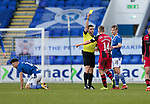 St Johnstone v St Mirren…16.01.21   McDiarmid Park     SPFL<br />Referee Steven McLean books Cammy MacPherson for a foul on Guy Melamed<br />Picture by Graeme Hart.<br />Copyright Perthshire Picture Agency<br />Tel: 01738 623350  Mobile: 07990 594431