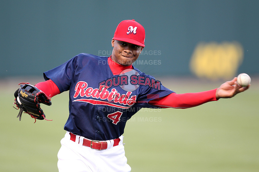 Memphis Redbirds outfielder Adron Chambers #4 before a game versus the Round Rock Express at Autozone Park on April 28, 2011 in Memphis, Tennessee.  Memphis defeated Round Rock by the score of 6-5 in ten innings.  Photo By Mike Janes/Four Seam Images