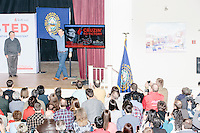 Texas senator and Republican presidential candidate Ted Cruz takes to the stage at a town hall event at Peterborough Town House in Peterborough, New Hampshire, on Sun., Feb. 7, 2016.