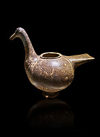 Phrygian pottery vessel in the shape of a goose decorated with geometric deigns from Gordion. Phrygian Collection, 8th century BC - Museum of Anatolian Civilisations Ankara. Turkey. Against a black background