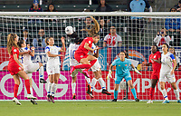 CARSON, CA - FEBRUARY 07: Shirley Cruz #10 of Costa Rica battles in the air with Shelina Zadorsky #4 of Canada during a game between Canada and Costa Rica at Dignity Health Sports Complex on February 07, 2020 in Carson, California.