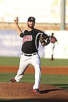David Holman #29 of the High Desert Mavericks pitches against the Visalia Rawhide at Heritage Field on July 19, 2014 in Adelanto, California. Visalia defeated High Desert, 10-9. (Larry Goren/Four Seam Images)