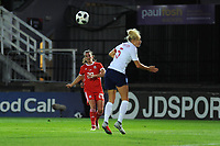 Helen Ward of Wales Women has a shot at goal during the FIFA Women's World Cup Qualifier match between Wales and England at Rodney Parade on August 31, 2018 in Newport, Wales.