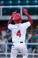Orem Owlz center fielder D'Shawn Knowles (4) celebrates after hitting his second home run of the game during a Pioneer League game against the Ogden Raptors at Home of the OWLZ on August 24, 2018 in Orem, Utah. The Ogden Raptors defeated the Orem Owlz by a score of 13-5. (Zachary Lucy/Four Seam Images)