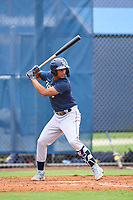 Tampa Bay Rays Jelfry Marte bats during an Extended Spring Training intrasquad game on June 15, 2021 at Charlotte Sports Park in Port Charlotte, Florida.  (Mike Janes/Four Seam Images)