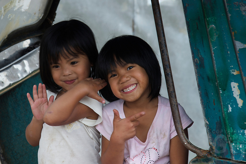 Children in the Banaue Mountain Province Rice Terraces Philippines