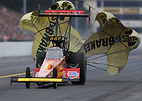 Sep 14, 2019; Mohnton, PA, USA; NHRA top fuel driver Brittany Force during qualifying for the Reading Nationals at Maple Grove Raceway. Mandatory Credit: Mark J. Rebilas-USA TODAY Sports