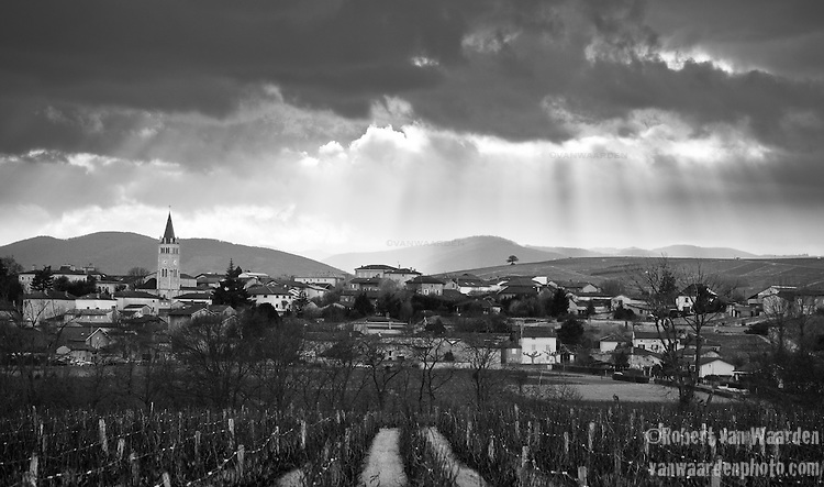 Sun rays decorate a vineyard and small village in the Beaujolais region of France.