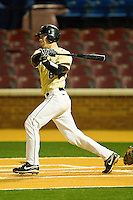 Brett Armour #6 of the Wake Forest Demon Deacons follows through on his swing against the Northwestern Wildcats at Gene Hooks Field on February 26, 2011 in Winston-Salem, North Carolina.  Photo by Brian Westerholt / Four Seam Images