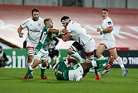 Friday 2nd October 2020 | Ulster Rugby vs Benetton Rugby<br /> <br /> Marcell Coetzee is tackled by Cherif Traore and Dewaldt Duvenage during the PRO14 Round 1 clash between Ulster Rugby and Benetton Rugby at Kingspan Stadium, Ravenhill Park, Belfast, Northern Ireland. Photo by John Dickson / Dicksondigital
