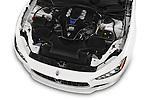 Car Stock 2014 Maserati Ghibli Base 4 Door Sedan Engine high angle detail view