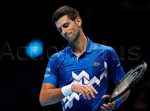 18th November 2020, O2, London, England; Novak Djokovic of Serbia looks dejected during the singles group match against Daniil Medvedev of Russia at the ATP  finals in London